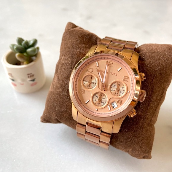 Michael Kors Rose Gold Chronograph Dial Watch